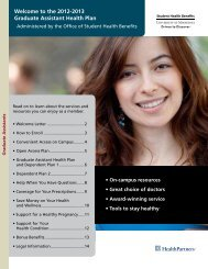 the 2012-2013 Graduate Assistant Health Plan - Office of Student ...