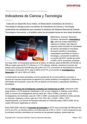 Indicadores de Ciencia y Tecnología - Noticias - Universia