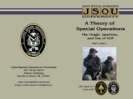 JSOU Report 07-7 A Theory of Special Operations - Combined Arms ...