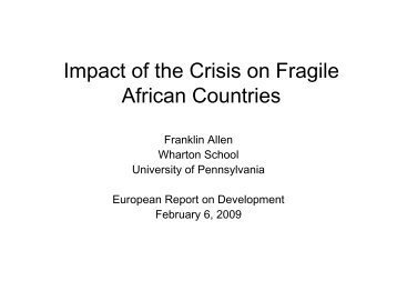 Impact of the Crisis on Fragile African Countries, by Franklin ... - ERD