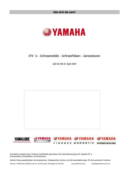 PP Preisliste 2013 ab April 2013 - Yamaha Motor Europe