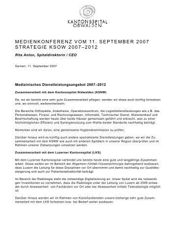 strategie ksow 2007 - Kantonsspital Obwalden