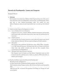 Deutsch als Fremdsprache - Lernen mit Computer