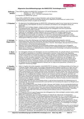 Allgemeine Geschäftsbedingungen der BARCOTEC Vertriebsges