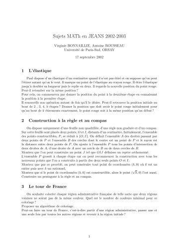 Sujets - ENS de Cachan - Antenne de Bretagne