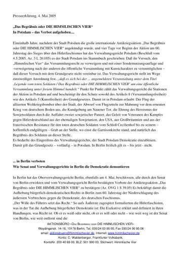 Presseerklärung, 5 - Das Begräbnis oder DIE HIMMLISCHEN VIER