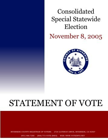 STATEMENT OF VOTE - Riverside County Registrar of Voters