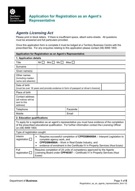 Application for Registration as an Agent's Representative Agents