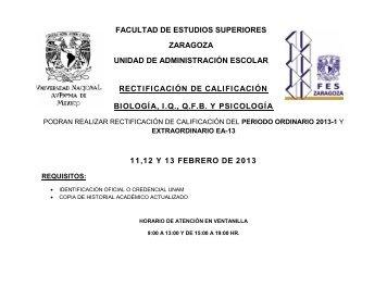 rectificación de calificación biología, iq, qfb y psicología 11,12 y 13 ...