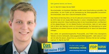 Kandidatenflyer - Henning Höne