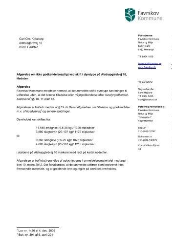 19d afgørelse vedr. Alstrupgårdvej 10, 8370 Hadsten - Favrskov ...