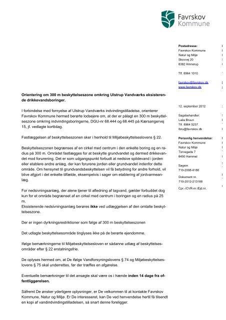 Orientering om 300 m beskyttelseszone omkring Ulstrup Vandværks ...