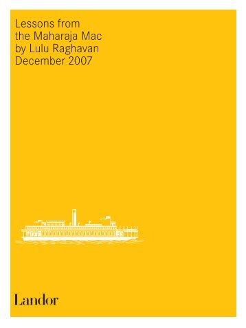 Lessons from the Maharaja Mac by Lulu Raghavan December 2007