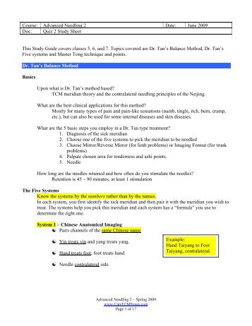 Study Guide for Quiz 2 - CatsTCMNotes