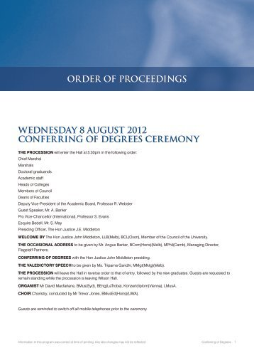 order of proceedings wednesday 8 august 2012 conferring