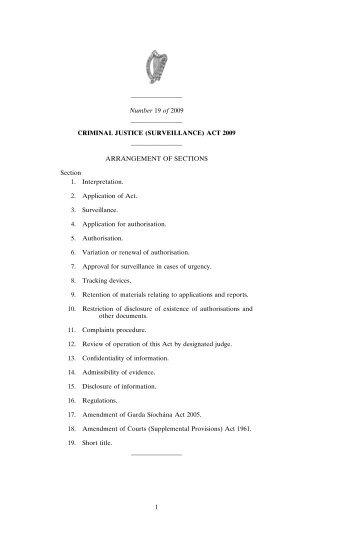 (SURVEILLANCE) ACT 2009 - Irish Statute Book