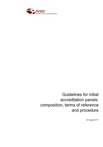 Guidelines for initial accreditation panels: composition ... - NVAO