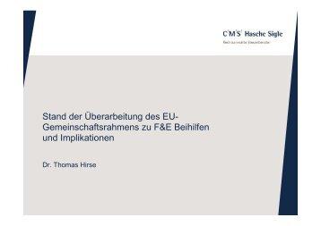 Vortrag von Dr. Thomas Hirse (CMS Hasche Sigle) - BIO Deutschland