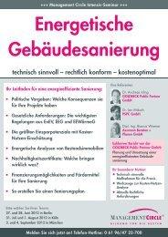 Seminar: Energetische Gebäudesanierung - Management Circle AG