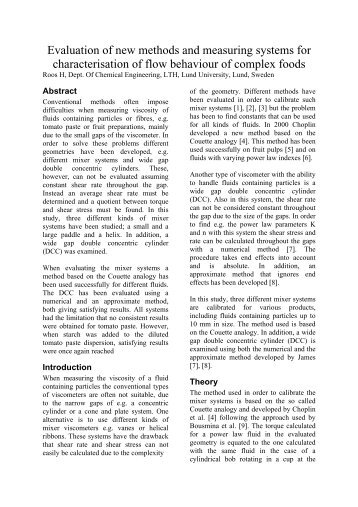Evaluation of new methods and measuring systems for ...