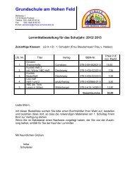 Schulbuchbestellung 2012-13 - Schule am Hohen Feld
