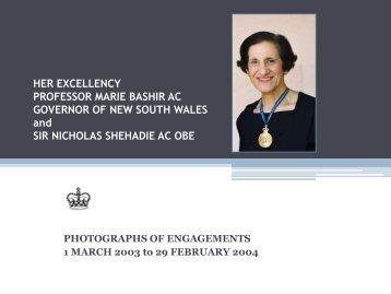Governor Bashir Official Photos 1 March 2003 to 29 February 2004