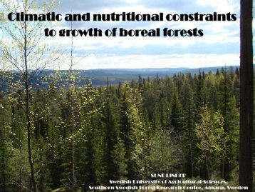 Climatic and nutritional constraints to growth of Boreal forests