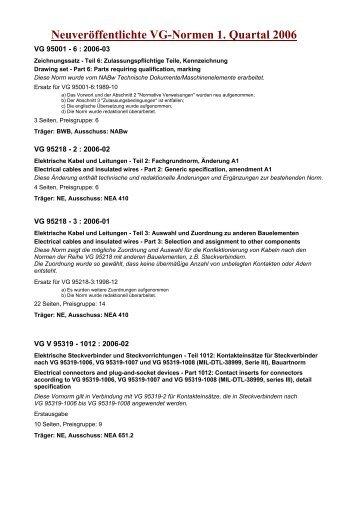 Neuveröffentlichte VG-Normen 1. Quartal 2006 - NASG