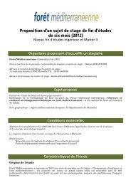 Proposition d'un sujet de stage de fin d'études de six mois (2012)