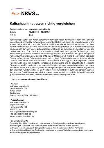PDF :: fair-NEWS.de :: Kaltschaummatratzen richtig vergleichen