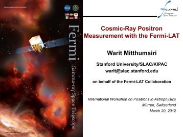 Cosmic-Ray Positron Measurement with the Fermi-LAT Warit ... - Cesr