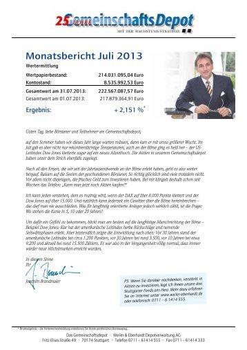 Monatsbericht Juli 2013 - Weiler Eberhardt Depotverwaltung AG