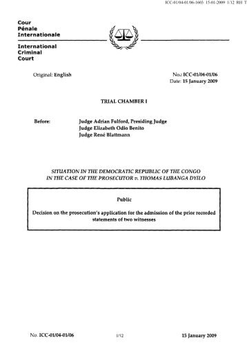 Decision on the prosecution's application for the admission of the prior