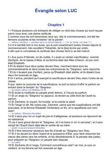 Évangile selon LUC Chapitre 1 - Laurent Remise