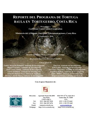 Reporte de Tortuga Baula - Sea Turtle Conservancy