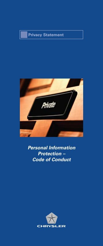 Personal Information Protection – Code of Conduct - Chrysler Canada