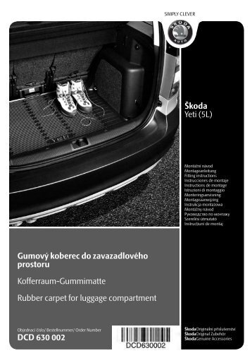 Škoda Yeti (5L) Gumový koberec do zavazadlového prostoru ...