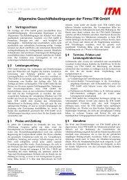 Allgemeine Geschäftsbedingungen der Firma ITM GmbH