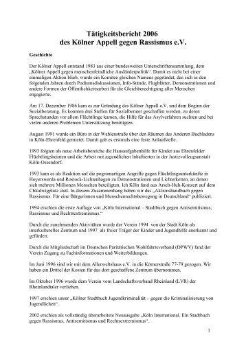 Jahresbericht 2006 - Kölner Appell gegen Rassismus