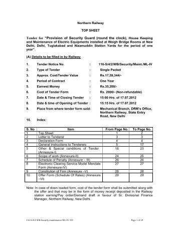 """Tender for """"Provision of Security Guard (round ... - Northern Railway"""
