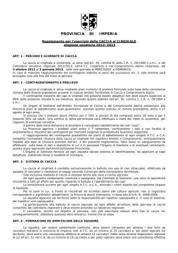 Regolamento per l'esercizio della caccia al cinghiale 2012/2013