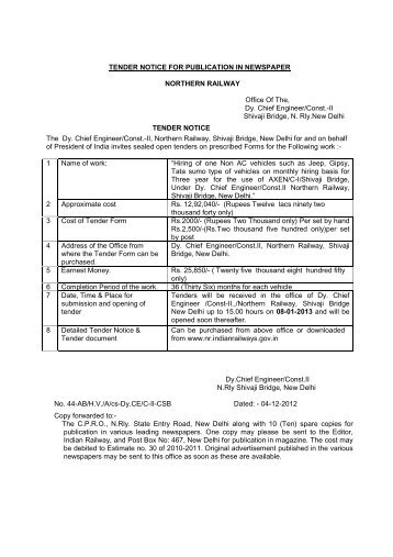 TENDER NOTICE FOR PUBLICATION IN ... - Northern Railway
