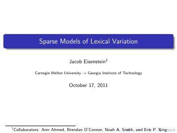 Sparse Models of Lexical Variation