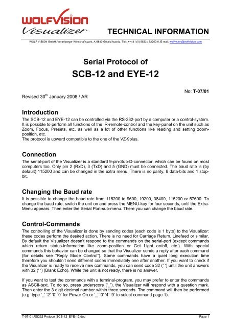 Serial Protocol of SCB-12 and EYE-12 - WolfVision
