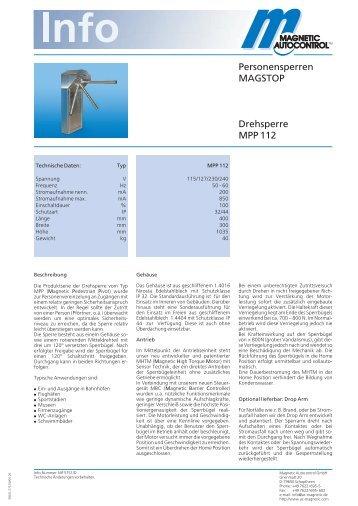 Personensperren MAGSTOP Drehsperre MPP 122