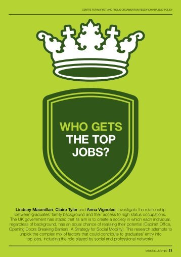 WHO GETS THE TOP JOBS?