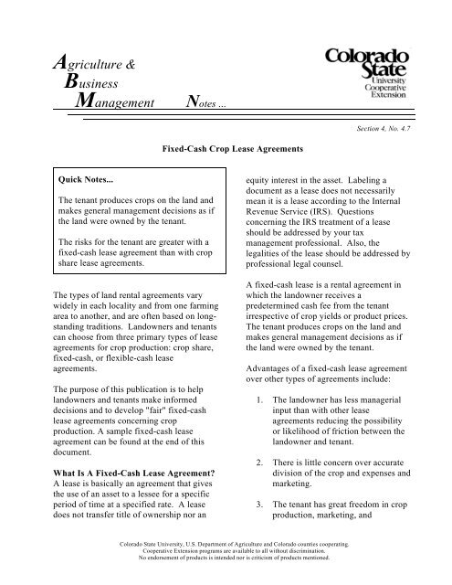 Fixed Cash Crop Lease Agreements