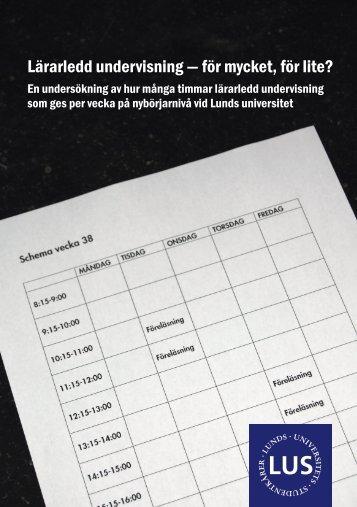 Lärarledd undervisning - för mycket, för lite? - Humanekologi Lunds ...