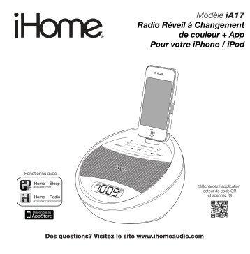 Modèle iA17 Radio Réveil à Changement de couleur + App ... - iHome