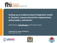 Scaling up an evidence-based integration model in Tanzania